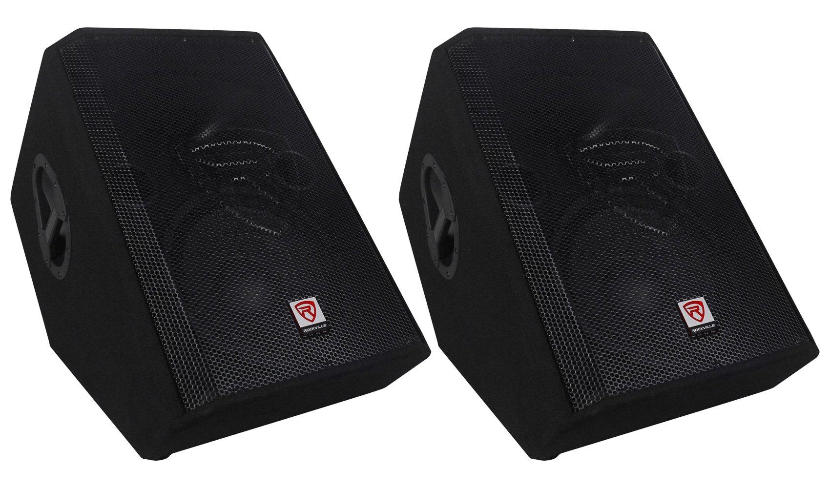 (2) Rockville RSM12P 12'' 2-Way Passive Floor Stage Monitor Speakers Totaling 2000 Watt Peak/1000 Watt Program Power/500 Watt RMS With 2.5'' KSV Voice Coils For Deep Bass and Incredible Acoustic Power