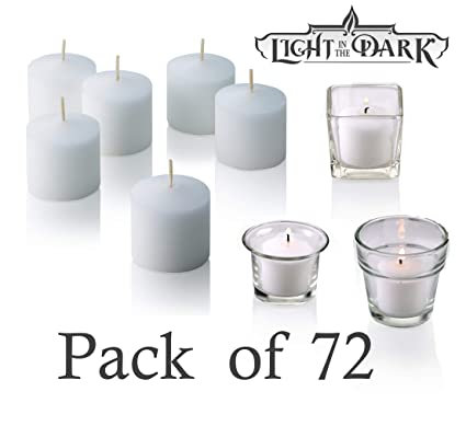 Amazon.com: White Votive Candles - Box of 72 Unscented Candles - 10 ...