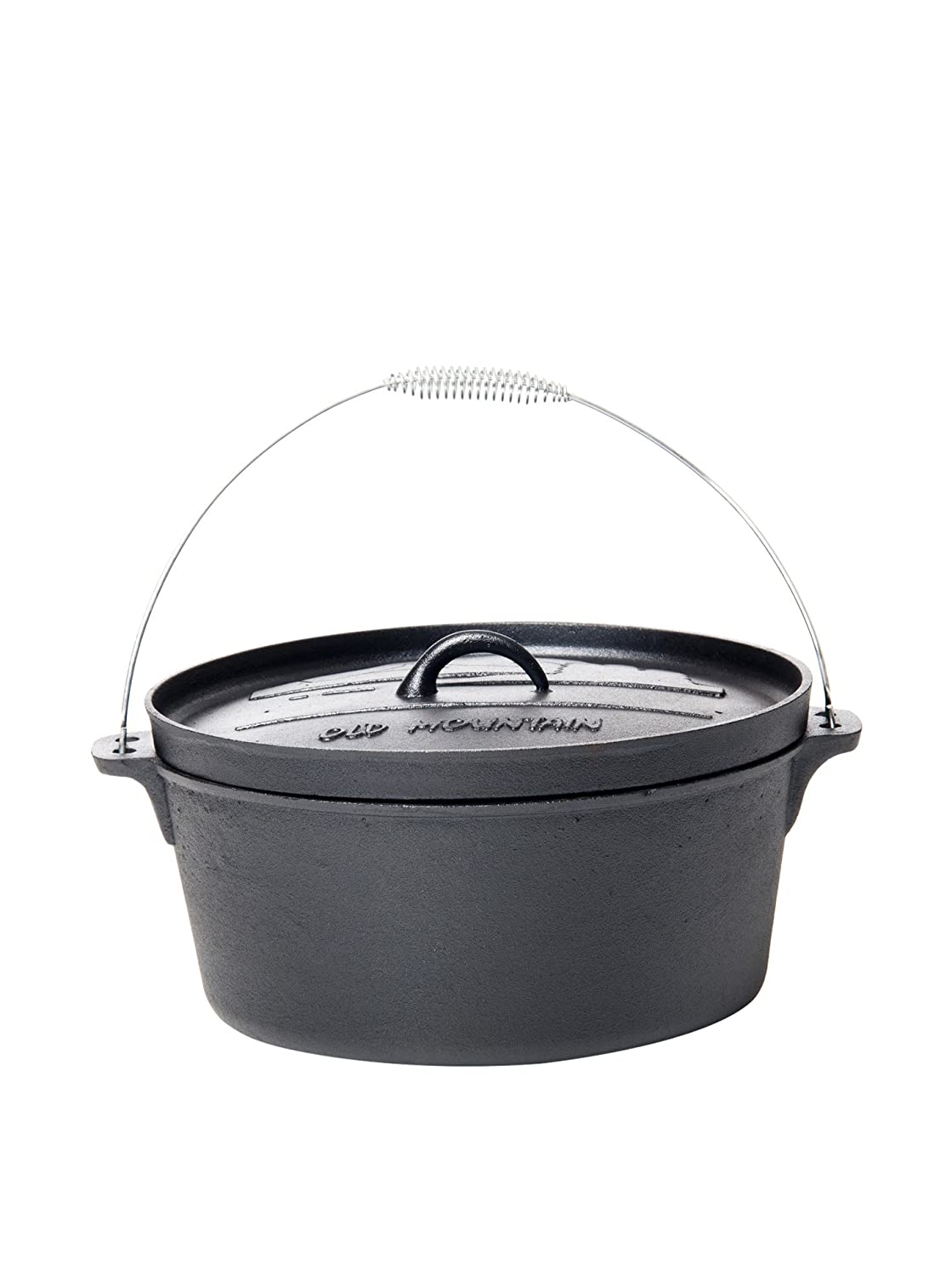 Old Mountain 10177 Pre Seasoned 8-Quart Dutch Oven with Flanged Lid, No Feet, black