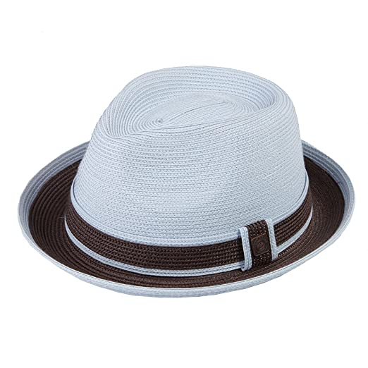 523045c6a52 Dasmarca Mens Retro Foldable Packable Summer Straw Trilby Hat - Raynor Blue  S