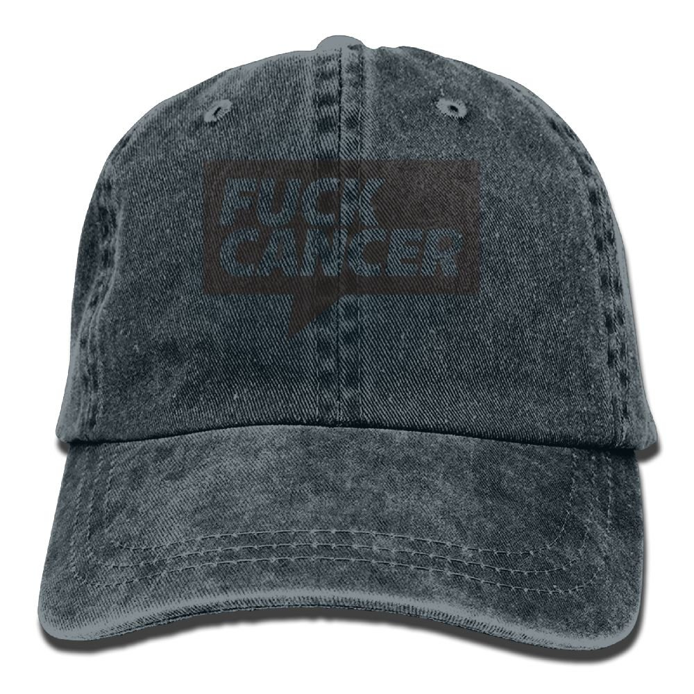 XZFQW Fuck Cancer Fun Trend Printing Cowboy Hat Fashion Baseball Cap for Men and Women Black