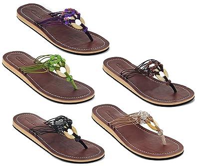 Amboss Damen Sandale Zehentrenner mit Echt Leder Gr.37 Farbe Schwarz 2Q8IfbV5XT