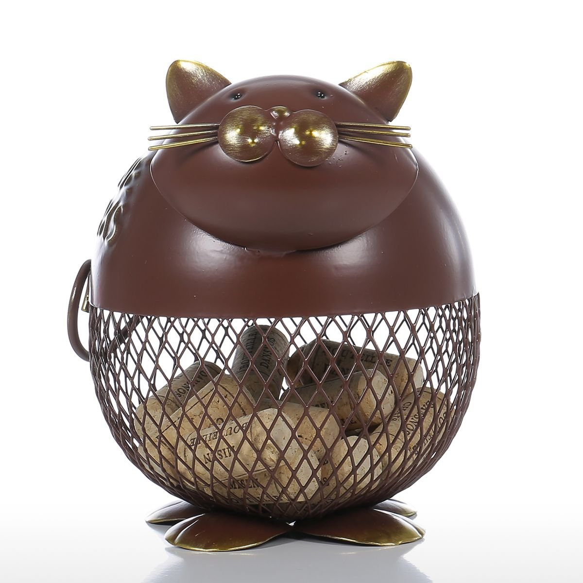 Tooarts Wine Barrel Cork Cage Container Puffy Cat Home Decor Metal Sculpture Animal Craft Gift