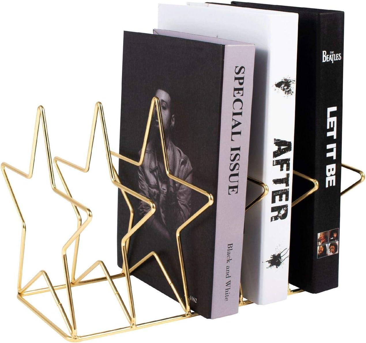 Zodaca Glossy Gold Magazine Holder, 5 Slots File Sorter, Desk Organizer, Star 10.3x6.9x7.1
