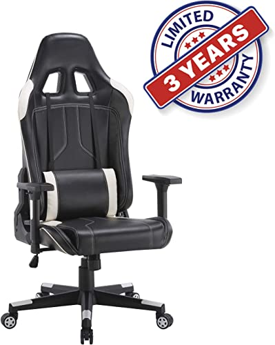 CLATINA Ergonomic Racing Office Chair Swivel Style with Adjustable PU Leather Back Support Lumbar Pillow Head and Arm Rest for Home Gaming BIFMA Certified