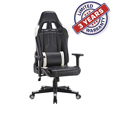 Ergonomic Racing Office Chair Swivel Style with Adjustable PU Leather Back Support Lumbar Pillow Head and Arm Rest for Home Gaming