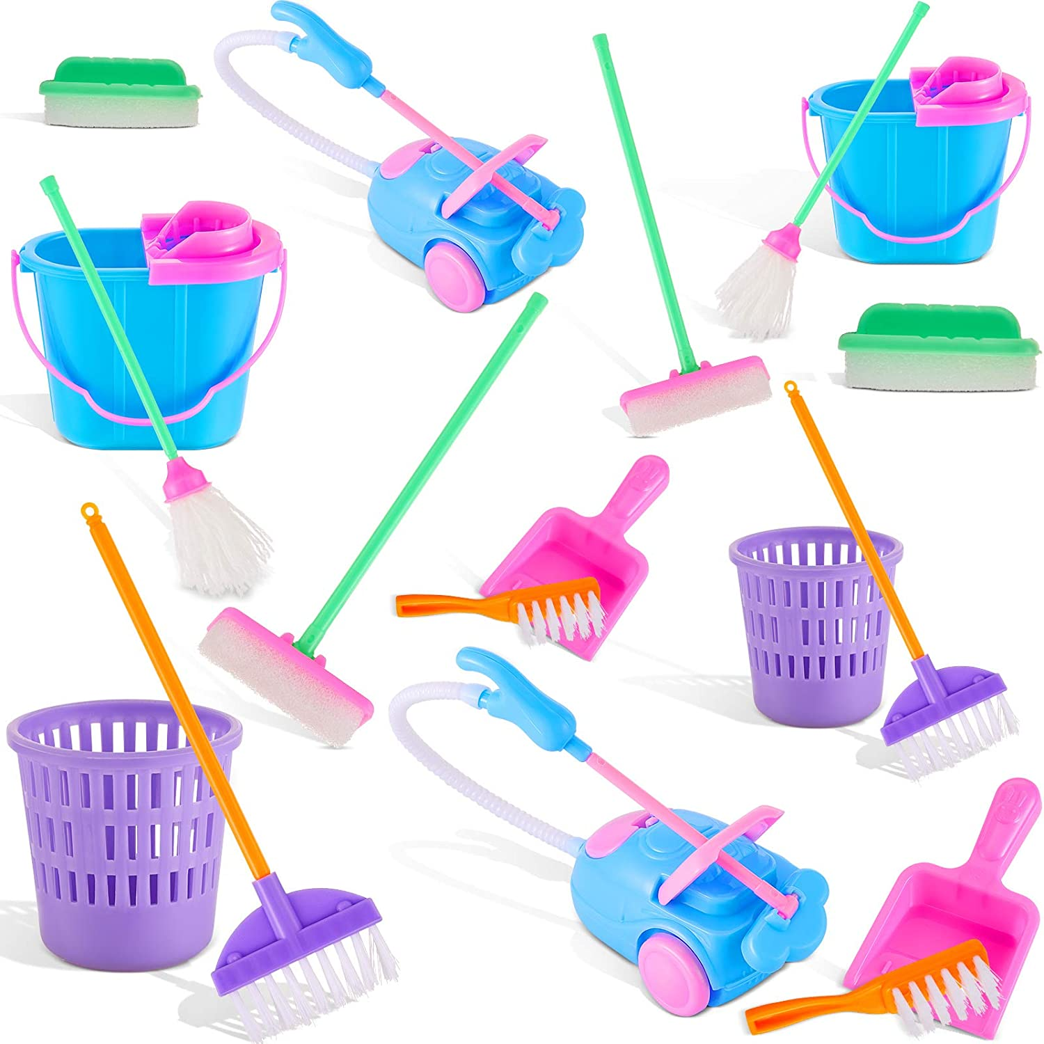 Sumind 18 Pieces Miniature Dollhouse Accessories Miniature Mop Dustpan Bucket Brush Mini Housework Cleaning Tools Pretend Play Dollhouse Furniture Garden Accessories Toys for Dolls