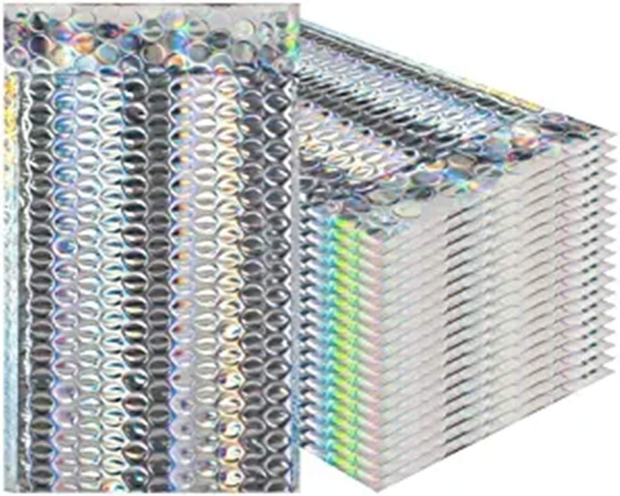 Patte autocollante M/étallique Exp/édition Emballage. ANNIUP Lot de 25 enveloppes matelass/ées /à Bulles Glamour holographiques Dimensions ext/érieures 22,9 x 15,2 cm Emballage