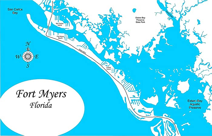 Amazon.com: Fort Myers Beach, Florida: Framed Wood Map Wall ...