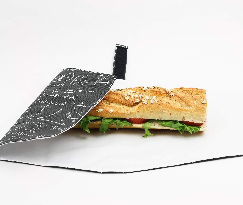 Funda ajustable y reutilizable para bocadillo. Cierre con velcro. Plástico alimentario, Producto eco. Estampado matemáticas