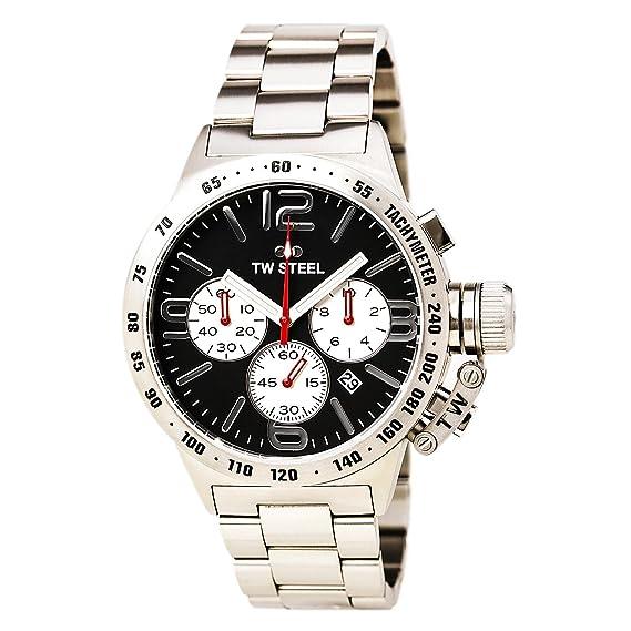 TW Steel CB3 Cantina Del Hombres Dial de plata banda de pulsera de acero inoxidable negro reloj: Amazon.es: Relojes