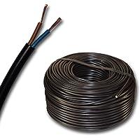 Plast slangledning rund LED kabelledning utrustningskabel H03VV-F 2 x 0,75 mm² (mm2) – färg: svart 10 m/15 m/20 m/25 m…