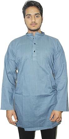 Lakkar Havali Indian 100/% Cotton Black Color Mens Kurta Shirt Tunic Loose Fit Plus Size Animal Print