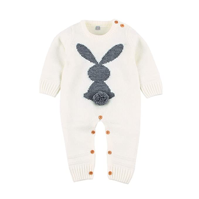 5a29d850979f White Newborn Boys Jumpsuits Rompers Autumn Long Sleeves Baby Girls Bodysuit  Outfits 3D Rabbit Knit Kids