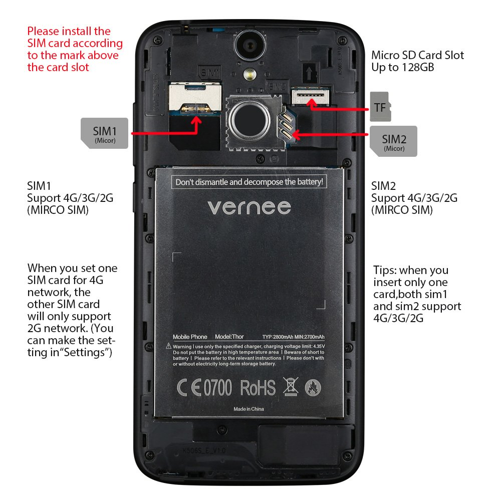 Vernee Thor 4G LTE Smartphone Android MTK6753 Octa Core 5