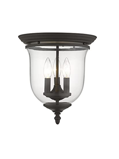 Livex lighting 5021 07 legacy 3 light bronze flush mount with clear glass