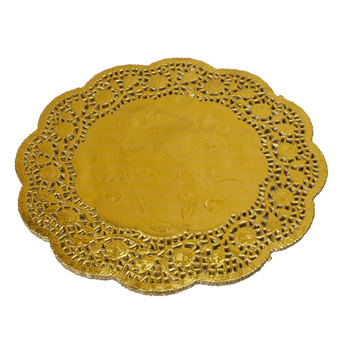 Geeklife Round Lace Paper Doilies, Gold Foil Doilies, Disposable Paper Doilies, 10.5 Inches, 60 Pcs
