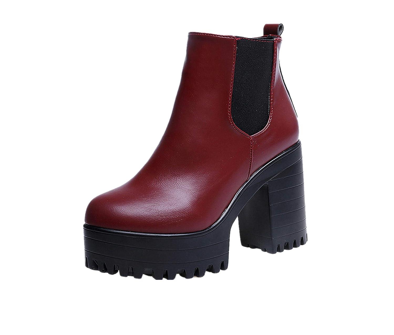 Sunnywill-Chaussures fFemme mperméables et en Bottes à Femme en B078HH9QLN Velours, Bottes Martin à Tête Ronde, Bottes d hiver des Femmes Rouge 76c1efe - shopssong.space