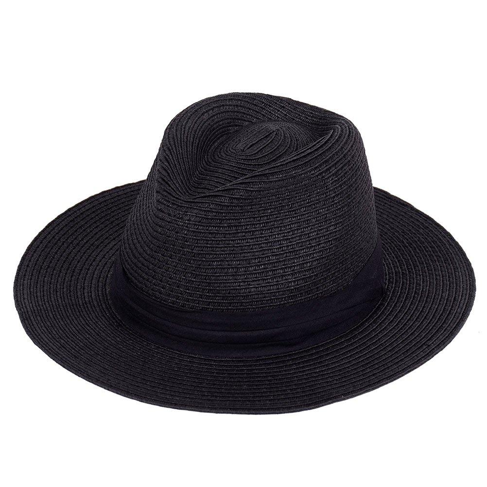 Panama Straw Hat, Women Summer Fedora Sun Hat Wide Brim Foldable (Black)