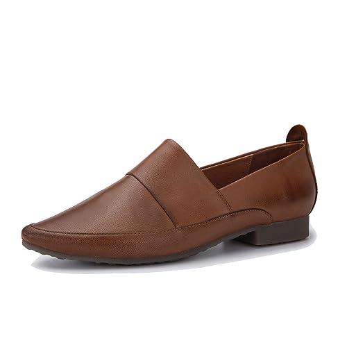 Mocasines de otoño para Mujer con Suela Suave y Punta Puntiaguda Zapatos Planos de Cuero Genuino Minimalista Vintage Zapatos Hechos a Mano de tacón bajo: ...