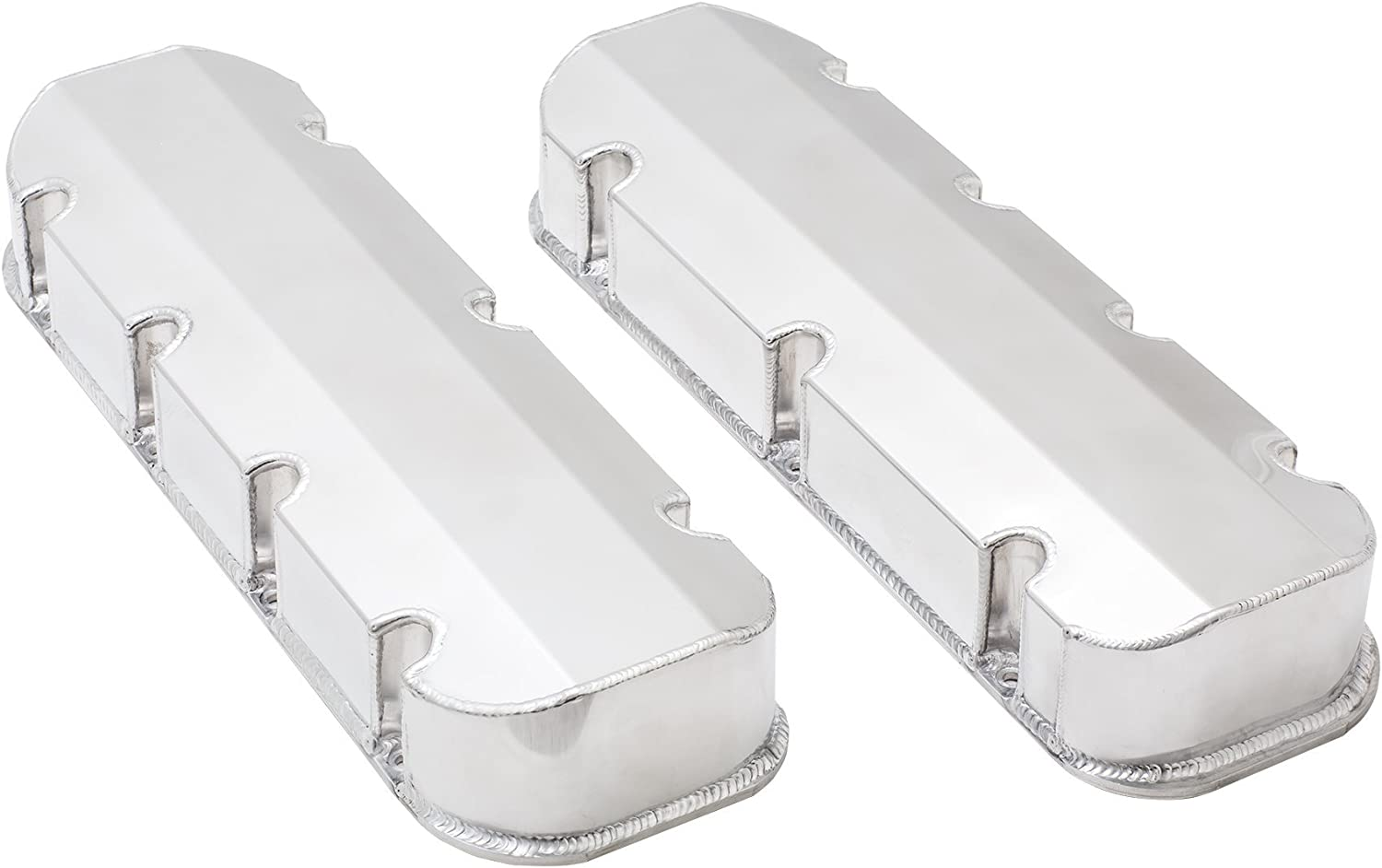 Top Street Performance JM8092-8P Polished Tall Fabricated Racing Valve Cover with Rail Short Bolt with Breather Hole