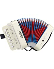 Eastar Kids Accordion 10 Keys Toy Accordion Musical Instruments for Children Kids Toddlers, White