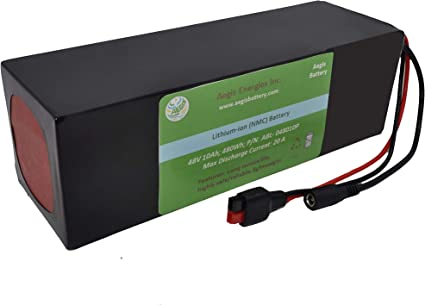 Lithium 10Ah 48V Li-ion Rectangle Battery Pack Electric bikes Ebike Scooters+BMS