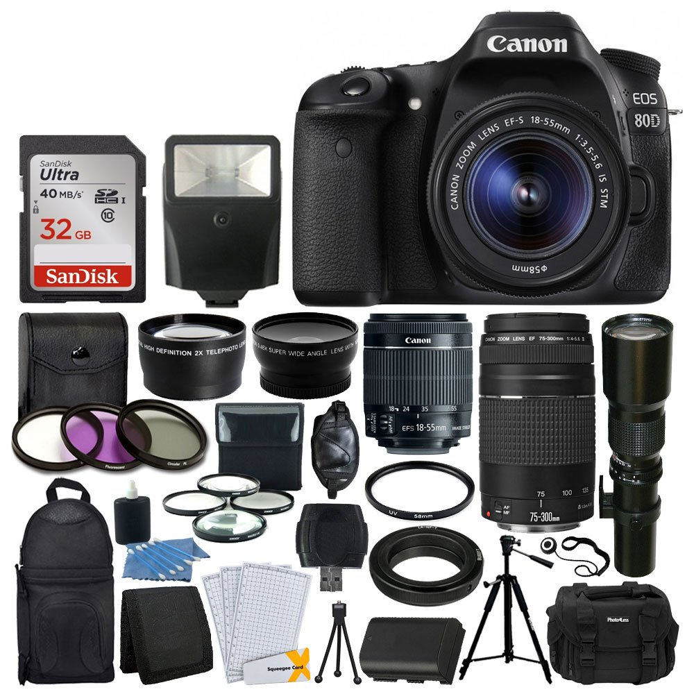 Canon EOS 80D DSLR Camera Body + Canon EF-S 18-55mm + Canon EF-S 55-250mm Lens & Telephoto 500mm f/8.0 (Long) + Wide Angle Lens + 58mm 2x Lens + Macro Filter Kit + 32GB Memory Card + Accessory Bundle by PHOTO4LESS