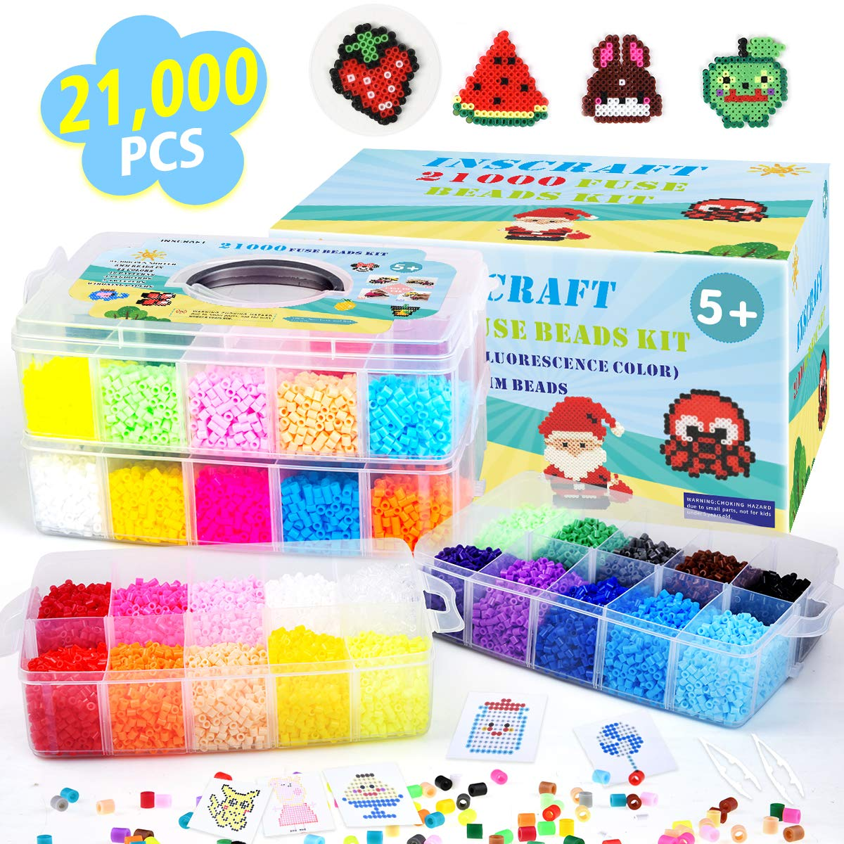 Fuse Beads, 21,000 pcs Fuse Beads Kit 22 Colors 5MM for Kids, Including 8 Ironing Paper,48 Patterns, 4 Pegboards, Tweezers, Perler Beads Compatible Kit by INSCRAFT by Inscraft