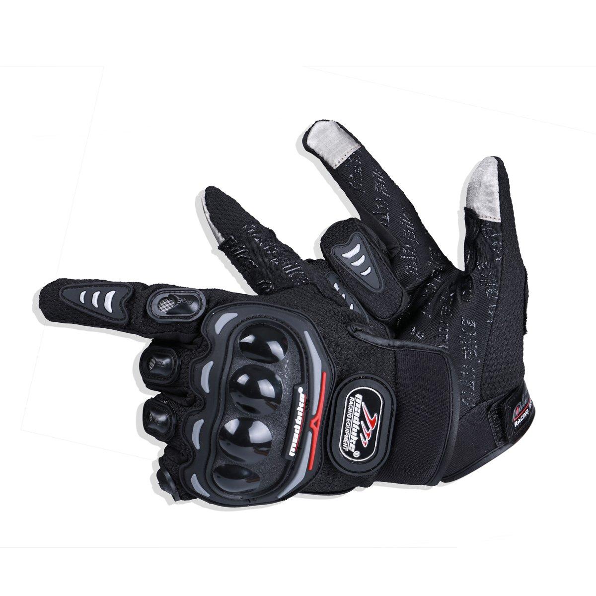 MADBIKE RACING EQUIPMENT Madbike Guanti di motocicletta estiva trasparente trasparente dello schermo di tocco (L, black) Lening MD01-BKL