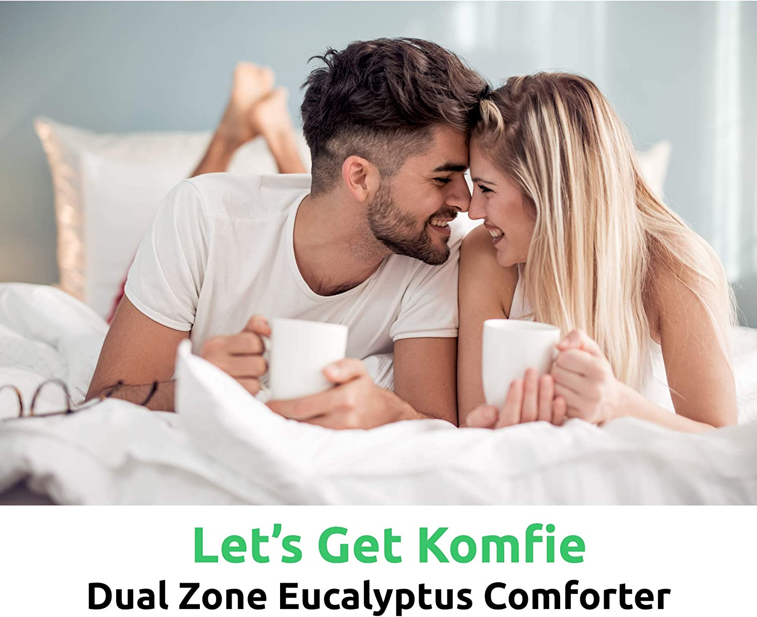 Dual Thickness Duvet Insert for Him and Her Eco Friendly 100/% Bamboo Comforter Queen, White Komfie Eucalyptus Comforter for Couples