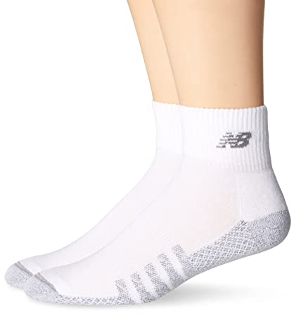 b288a628e3143 New Balance Unisex 2 Pack Technical Elite Quarter with Coolmax Socks White,  7.5-9