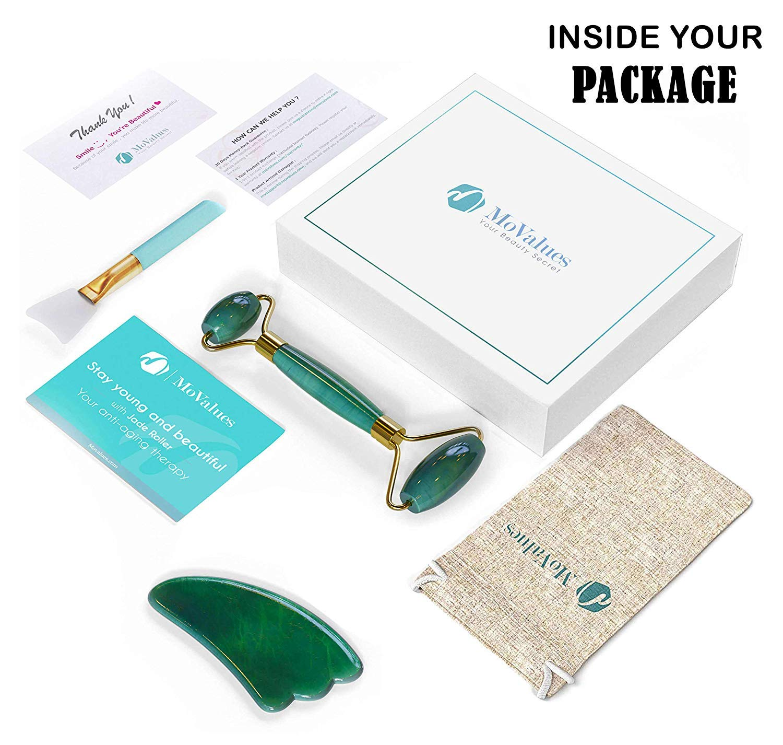 Original Jade Roller and Gua Sha Tools Set - Jade Roller for Face - Real  100% Jade - Face Roller for