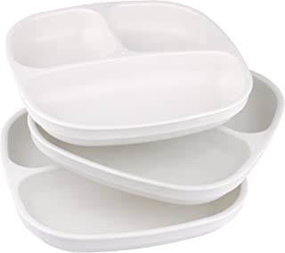 product image for Re-Play Made in USA 3pk Divided Plates with Deep Sides for Easy Baby, Toddler - White