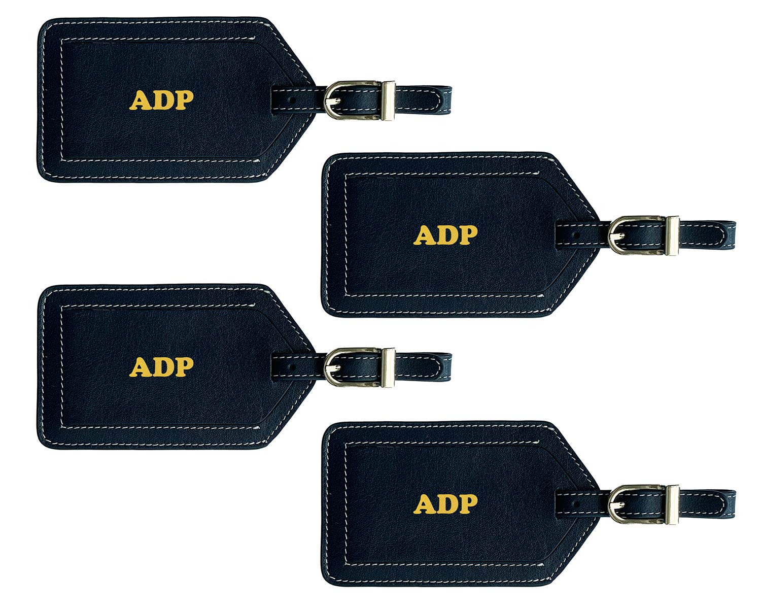 Personalized Monogrammed Navy Leather Luggage Tags - 4 Pack