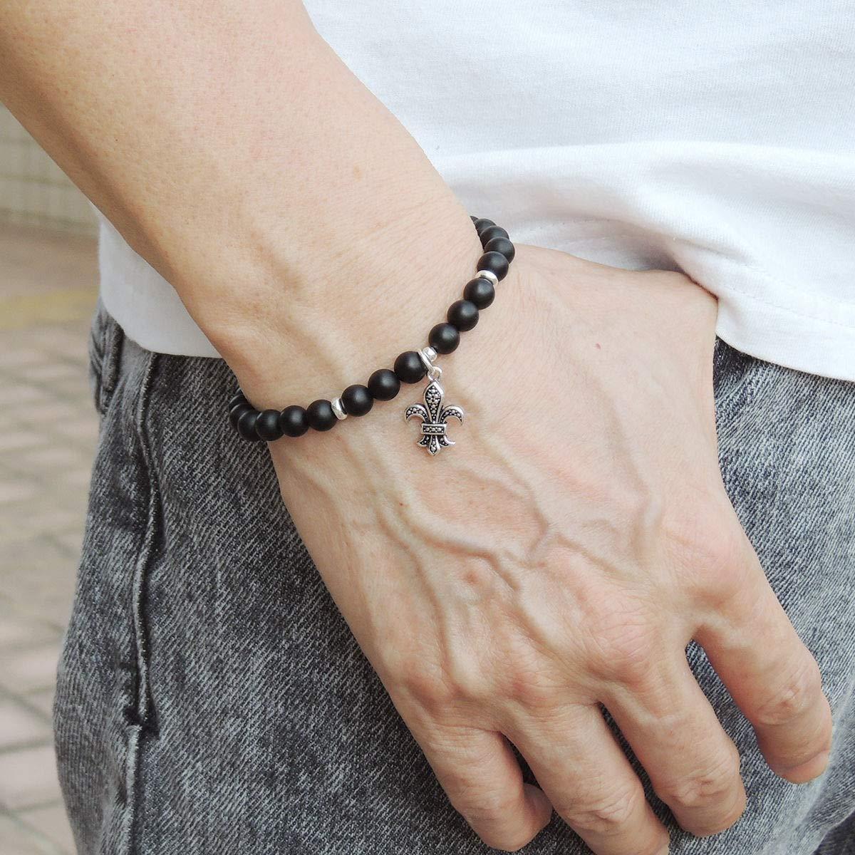 Matte Black Onyx Sterling Silver Bracelet Mens Women Fleur de Lis DIY-KAREN 520