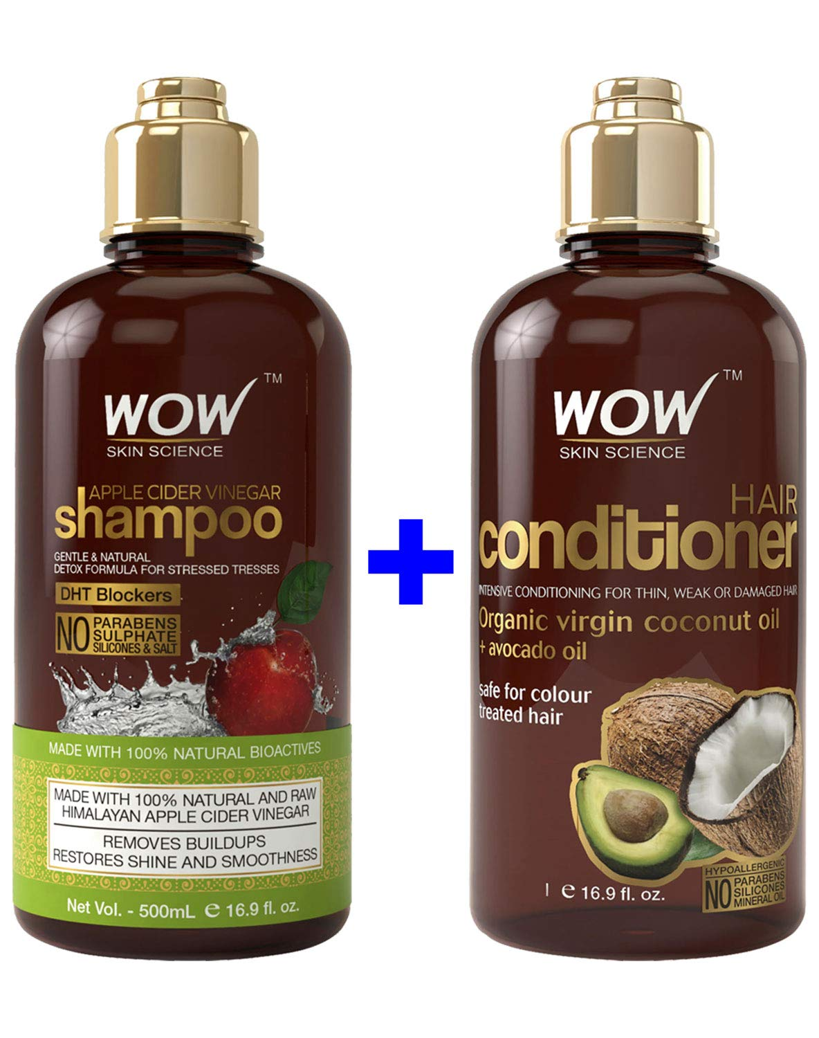 WOW Apple Cider Vinegar Shampoo & Hair Conditioner Set – Increase Gloss, Hydration, Shine – Reduce Dandruff & Frizz – No Parabens or Sulfates – For All Hair Types, Adults & Children – 500 mL