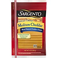 Sargento Medium Cheddar Natural Cheese Slices, great on grilled cheese and perfect for sandwiches, 8 oz Package