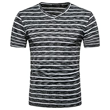 222fc785041 HGWXX7 Men s Summer Casual Striped Short Sleeve V Neck Pullover Top Blouse T -Shirt (
