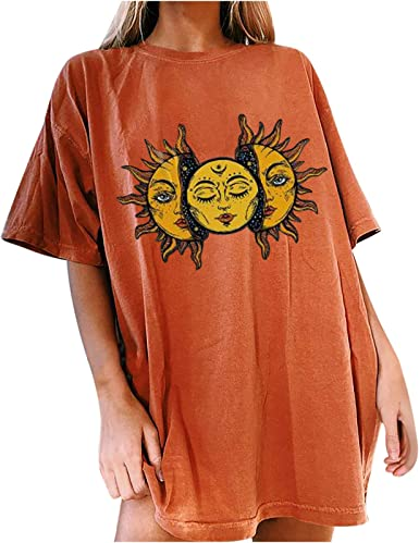 Oversized Vintage Graphic Tees for Women Gothic Sun Moon//Skeleton//Eye Print T Shirt Summer Casual Loose Short Sleeve Tops