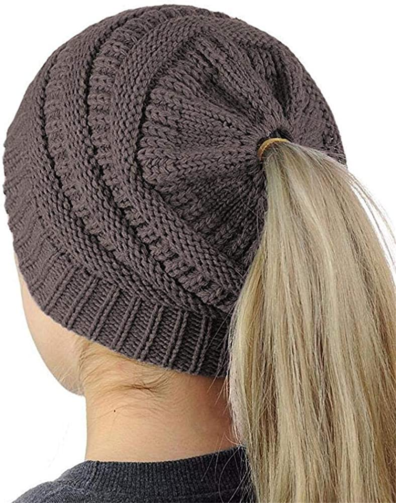 YAKER BeanieTail Soft Stretch Cable Knit Messy High Bun Ponytail Beanie Hat