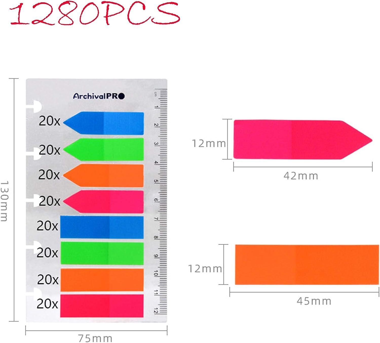 1280 Piezas PET Colorido Rectangular Transl/úcido y Flecha Notas Adhesivas Marcadores de P/ágina con 12 cm//5 inch Medici/ón Utilizado Como Marcador de Lectura 8 Paquetes de Pesta/ñas de /índice