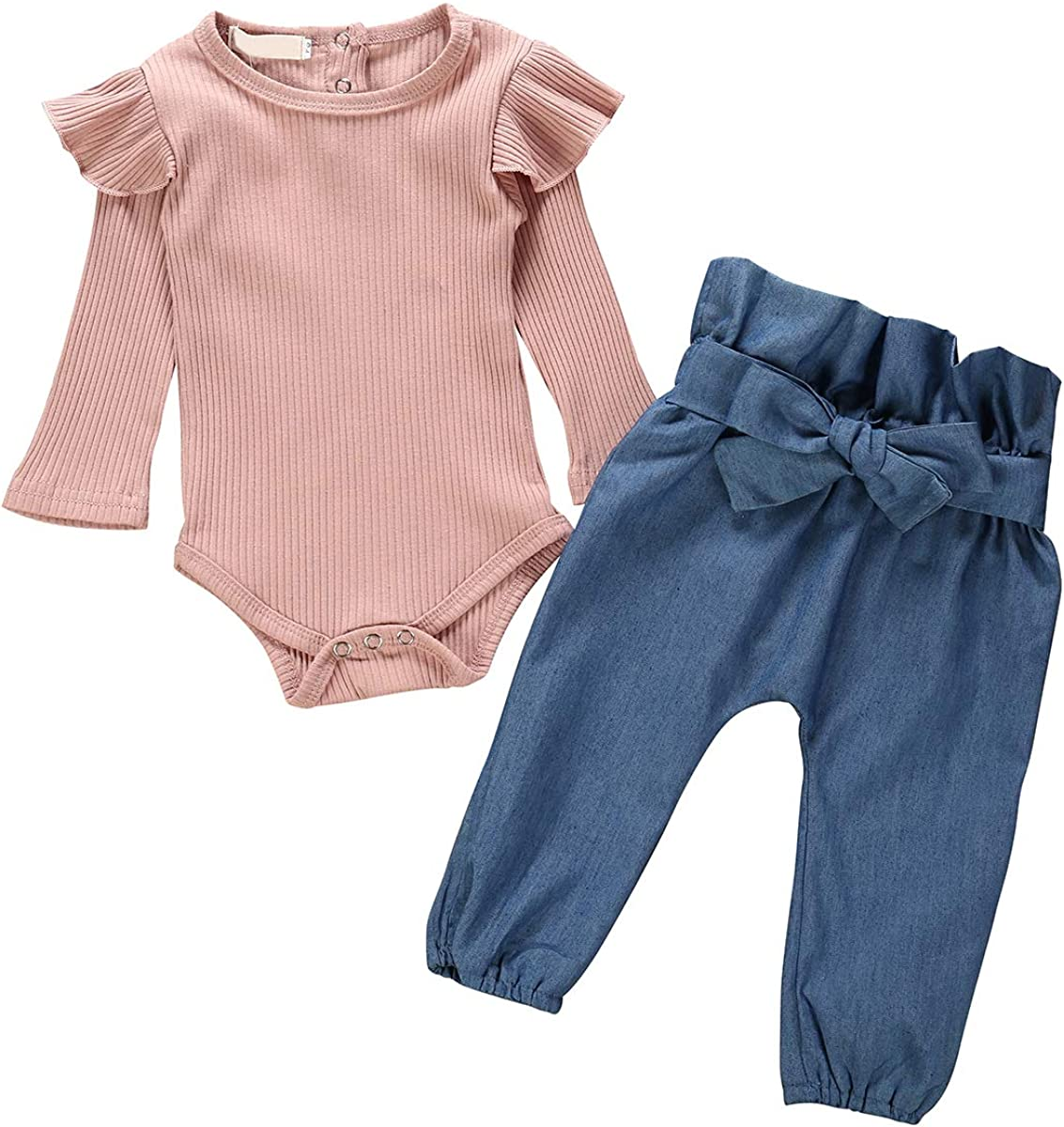 Pants puseky Toddler Baby Girls Clothes Outfit Long Sleeve Ruffled Romper