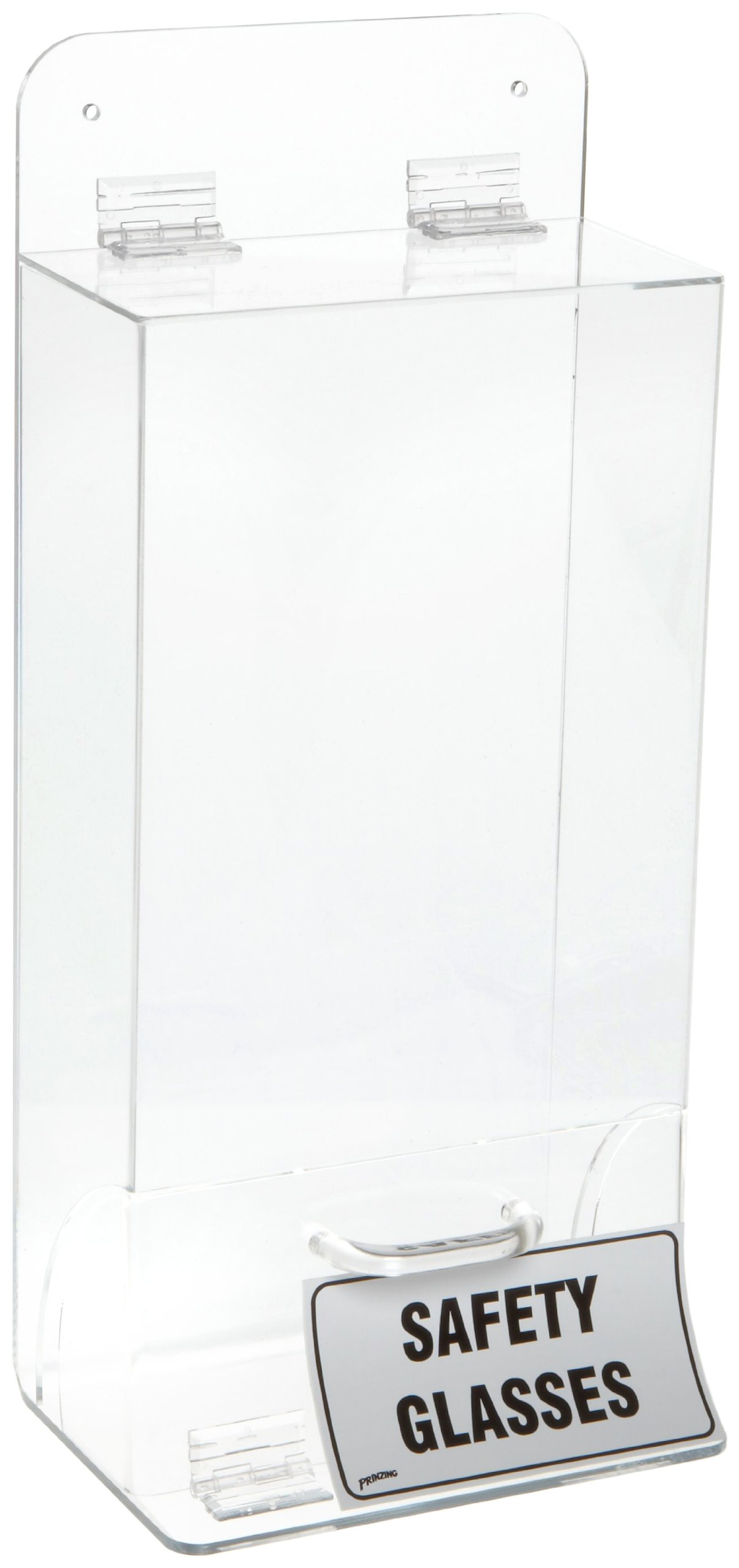 Brady MVSDL 18'' Height, 8'' Width, 4'' Depth, Tough Acrylic, Black And White On Clear Color Deluxe Visitor Spec Dispenser With Cover, Legend ''Safety Glasses''