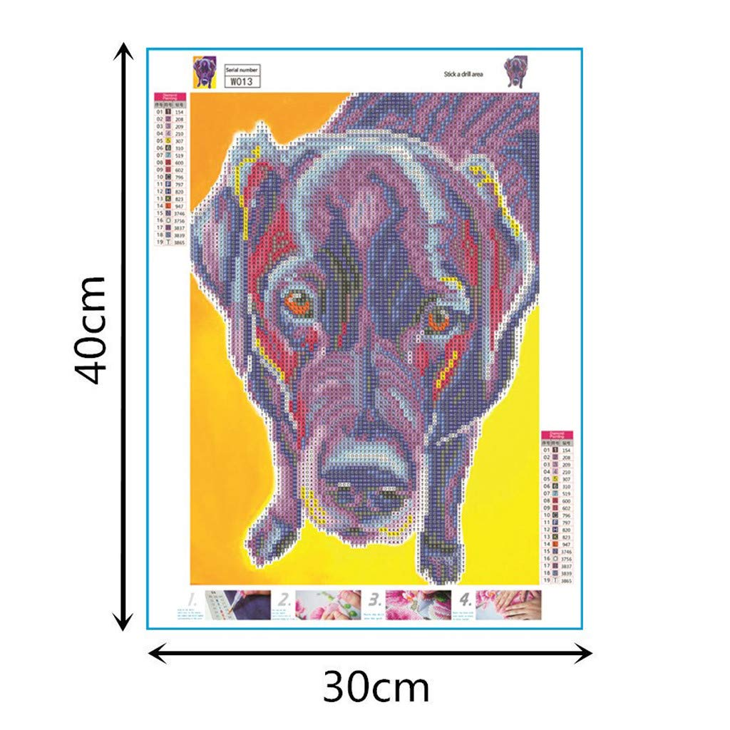 5D DIY Diamond Painting Full Round Drill Kits Picture Art Craft for Home Wall Decor 30x30cm Dog with Drink