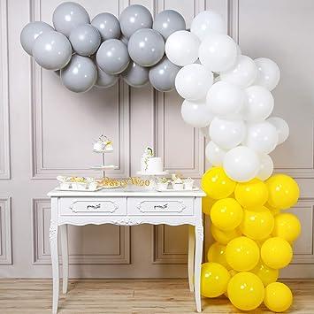 Partywoo Ballon Jaune Gris Blanc 60 Pcs 12 Pouces Ballons Gris Ballons Baudruche Jaune Et Ballons Blancs Ballons Gris Et Jaune Pour Decoration