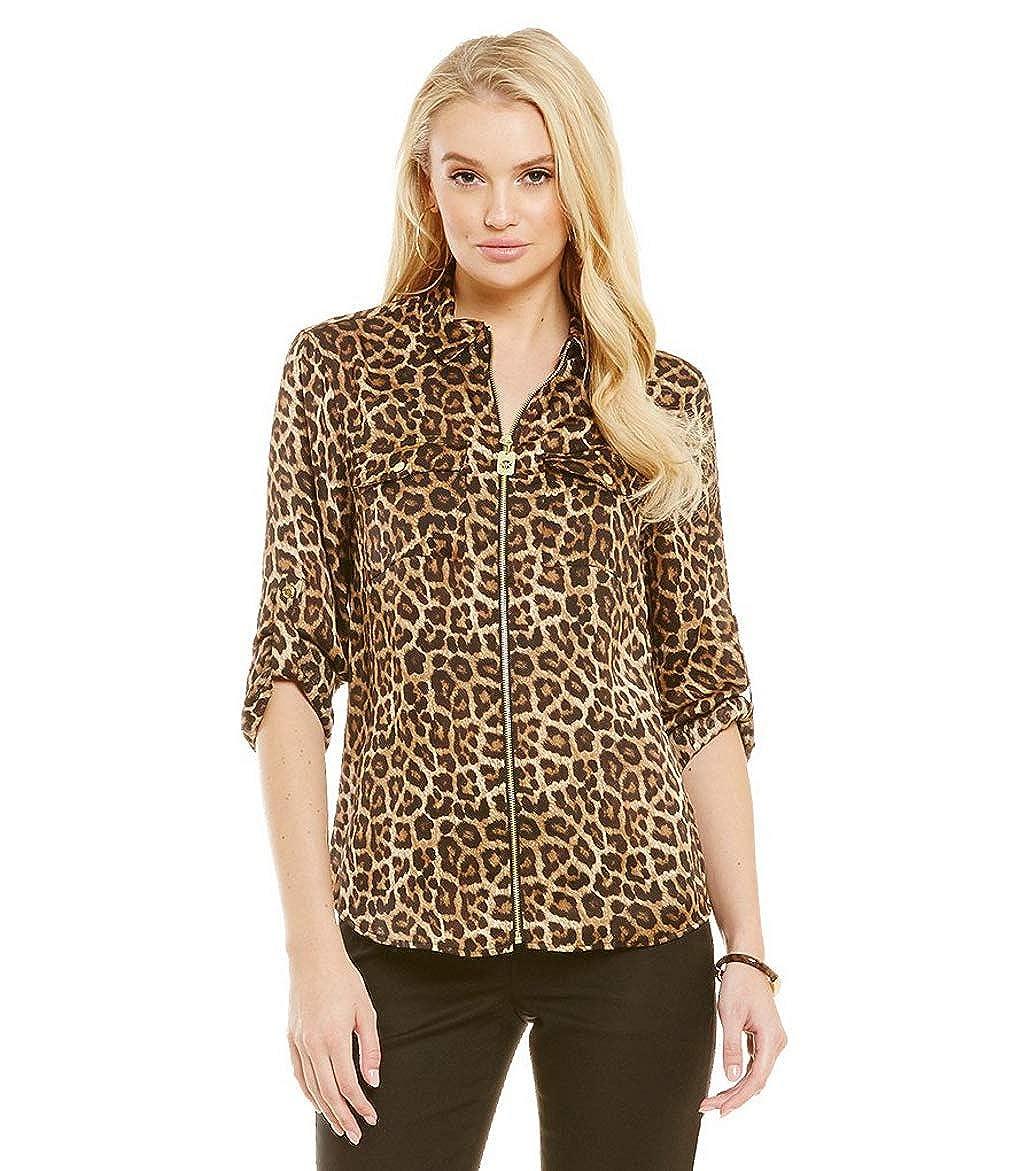 b9d2248b42 Michael Michael Kors Animal-Print Zip-Up Utility Shirt at Amazon Women s  Clothing store