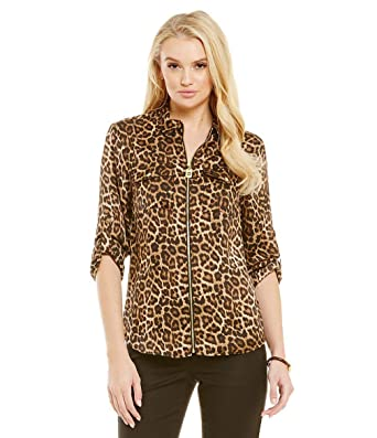 644d5dcffa Image Unavailable. Image not available for. Color  Michael Michael Kors  Animal-Print Zip-Up Utility Shirt