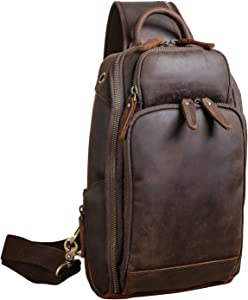 Polare Modern Style Sling Shoulder Bag Men's Travel/Hiking Daypack with Full Grain Italian Leather and YKK Zippers(Medium)
