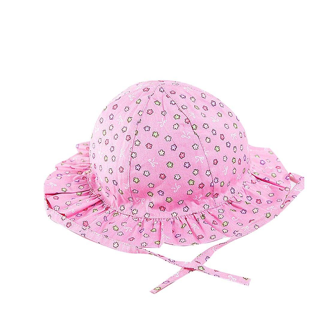ACVIP Girls Flowers Bowtie Patterned Ruffle Brim Drawstring Sun Hat